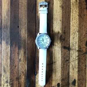 Betsey Johnson White Leather/Crystal Watch